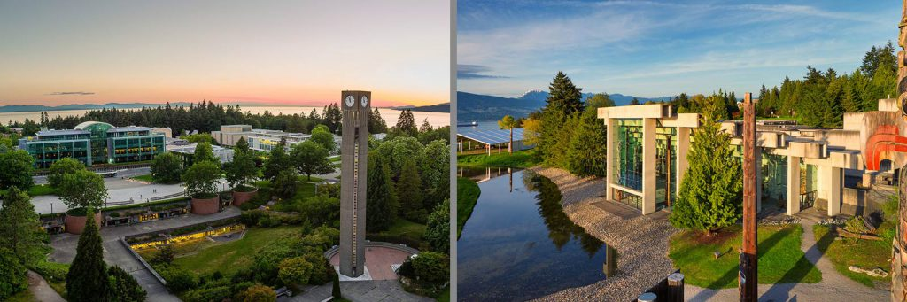 Koerner Library, UBC Clocktower, and Museum of Anthropology
